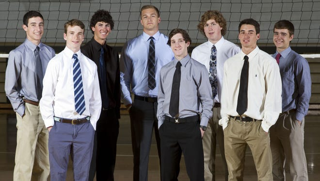 Asbury Park Press All-Shore boys high school volleyball team. Front row: Brian Kelly of Christian Brothers Academy, Chris Reed of Southern Regional, and J.P. Legrottaglie, Red Bank Catholic. Back row: Brady Donahue of Wall, Justin Sandy of St. John Vianney, Mike Gesicki of Southern Regional, Jacob Brown of Howell, and Dan Dobrowolski of Christian Brothers Academy. Wall Township, NJ Thursday, June 12, 2014 Doug Hood