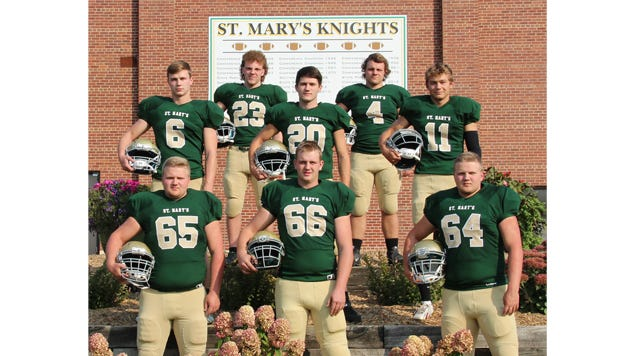 Seniors on the Knights football team, front from left: John Balko, Anthony Helget, and Brad Balko. Middle: Riley Strate, Caleb Schumacher, and Spencer Hoffman. Top: Braden Hansen and Patrick Hoffmann.
