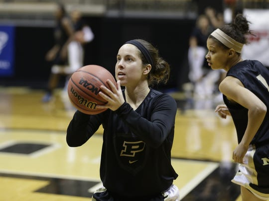 Purdue guard Courtney Moses during practice at the women's NCAA college basketball tournament.