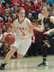 Sadie Otley, left, of CVU and Rice's Sierra Combs, right, are key players for their respective teams this winter. CVU is aiming for a Division I three-peat.