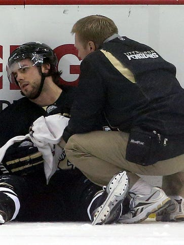 Pittsburgh Penguins defenseman Kris Letang is out with