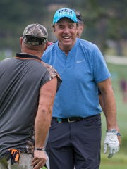 Kevin Nealon jokes with Larry the Cable Guy during the American Century Championship at Edgewood Tahoe Golf Course in Stateline, Nevada, Friday, July 13, 2017.
