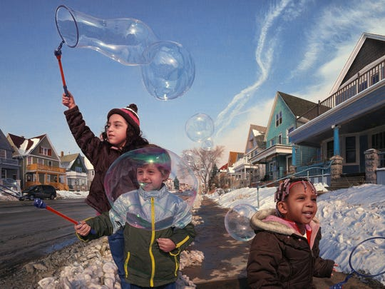 """Wishes in the Wind"" (2010), David Lenz's portrait of three Milwaukee children, became the focal point of unexpected controversy when it was removed from the Wisconsin Executive Residence."