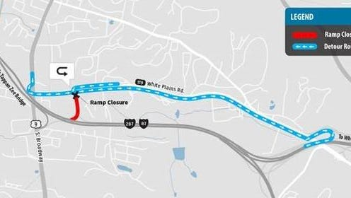 Detour route for Exit 9 on-ramp closure scheduled from 9 p.m., Friday to 6 a.m., Saturday.
