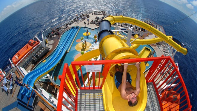 Carnival Cruise Line's Carnival Inspiration features a deck-top water park with a 300-foot-long slide.