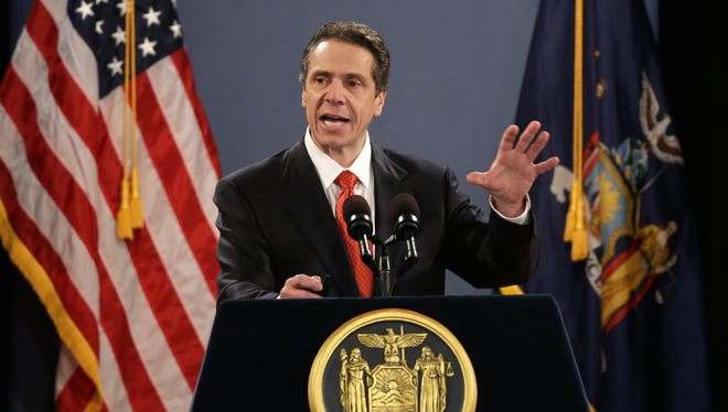 A file photo of New York Gov. Andrew Cuomo delivering his State of the State address in 2013.