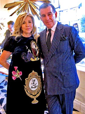 Mary Mahoney and Hutton Wilkinson at the opening of the Tony Duquette collection pop-up.