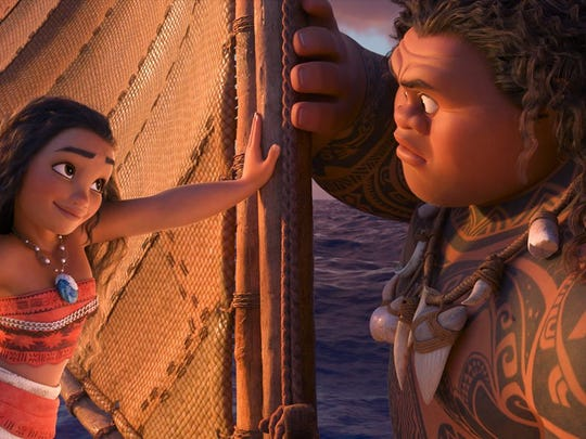 "An animated still from the movie ""Moana"" voiced by  Auli'i Cravalho as Moana and Dwayne Johnson as Maui. (Walt Disney Animation Studios/TNS)"