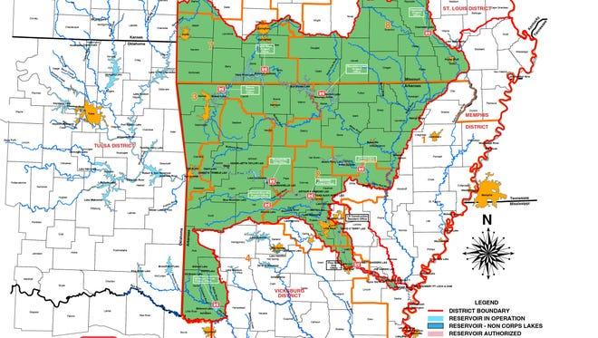 A district map is shown from the U.S. Army Corps of Engineers, Little Rock office.
