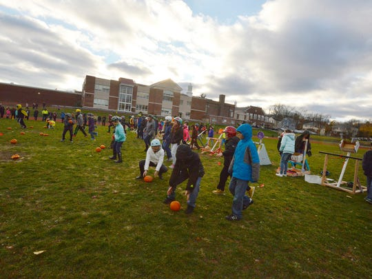 After the Pumpkin Chunkin' Contest, the students get
