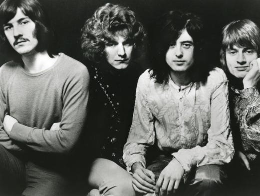 With the remastering and re-release of Led Zeppelin's first three studio albums, let's take a look at the band in the years since the records first came out. Here's the band circa 1969: John Bonham, left, Robert Plant,  Jimmy Page and John Paul Jones. Bonham died in 1980.