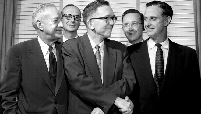 October 5, 1955 - New officers of the Memphis and Shelby County Bar Association named on October 5, 1955, are (from left) William F. Murrah, second vice president; Marvin G. Goff Jr., treasurer; Charles G. Morgan, president; S. Shepherd Tate, secretary and Harry W. Laughlin, first vice president.