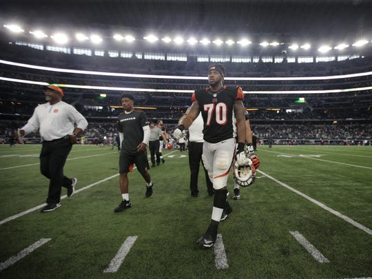 Cincinnati Bengals OL Cedric Ogbuehi (70) walks off