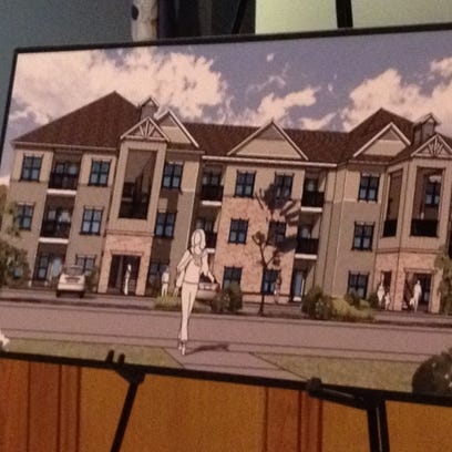 Rendering of a proposed low-income apartment complex