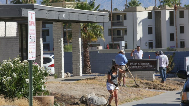 Friends of Well in the Desert clean up the charity's drop-in and cooling center at 441 S. Calle Encilia near downtown Palm Springs on in June 2017.