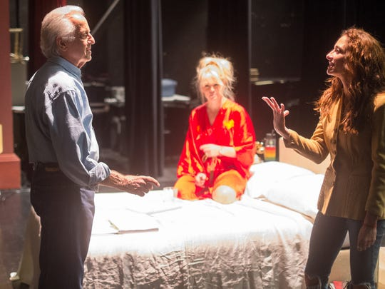 "Playwright Mark Medoff, left, and Erin Sullivan, center, who portrays Marilyn Monroe, and Lena Georgas, (Lena Pepitone) rehearse Medoff's new play ""Marilee and Baby Lamb: The Assassination of an American Goddess."""