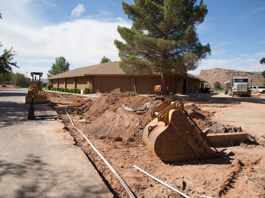 Work crews continue construction on renovations at the Bloomington Golf Course Thursday, Oct. 15, 2015.