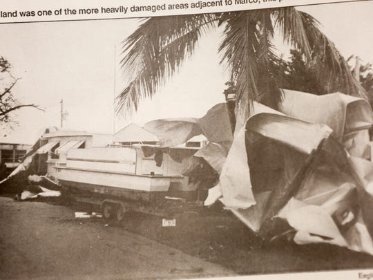 A photo in a newspaper clipping of the Marco Eagle, courtesy of the Marco Island Historical Museum, shows damage on Goodland after Hurricane Andrew swept through on Aug. 24, 1992. Photo taken by Marco Eagle correspondent Deborah Wight.