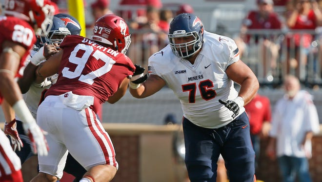 The New York Giants selected UTEP guard Will Hernandez (76) with the No. 34 pick Friday.