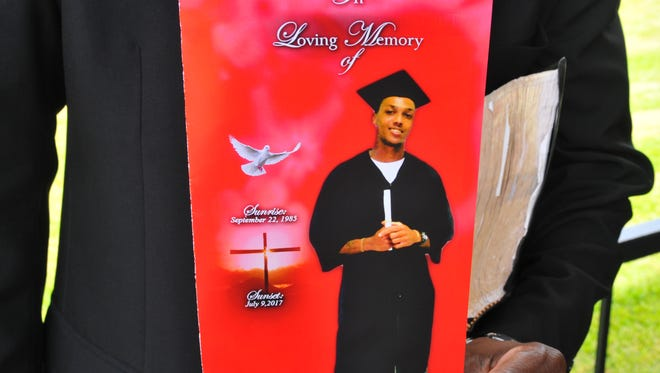 This was the cover of the funeral program for Jamel Dunn, who died July 9 at age 31, in a drowning that was captured on video.