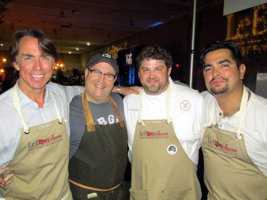 Chefs gathered to raise money for Le Bonheur Children's Hospital at Le Bon Appetit, held April 16 at the Pipkin Building. Among the chefs taking part were, from left, John Besh, John Currence, Kelly English and Aaron Sanchez.