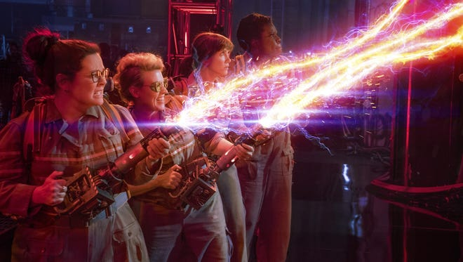 """Abby Yates (Melissa McCarthy), Jillian Holtzmann (Kate McKinnon), Erin Gilbert (Kristen Wiig) and Patty Tolan (Leslie Jones) are called in to fight the paranormal in Columbia Pictures' new reboot of """"Ghostbusters."""""""