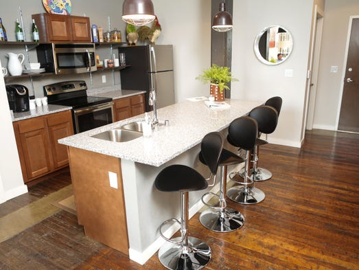 A look at the kitchen and dining space inside a model