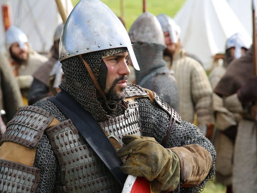 Re-enactors gather at Battle Abbey near Hastings, England,