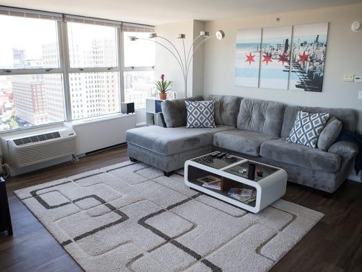 An overview of the living room area at the apartment