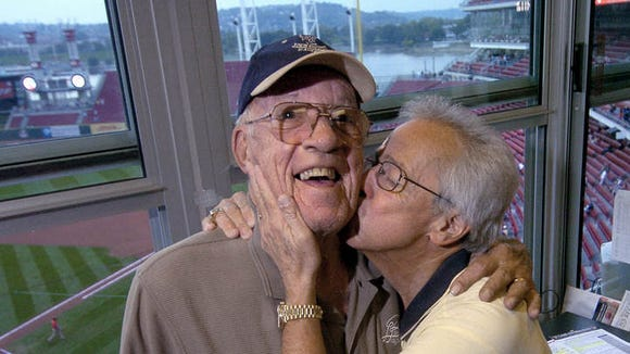2004: Joe Nuxhall (left) and Marty Brennaman in the WLW radio booth at the Great American Ball Park prior to the start of the Reds/Pirates game.