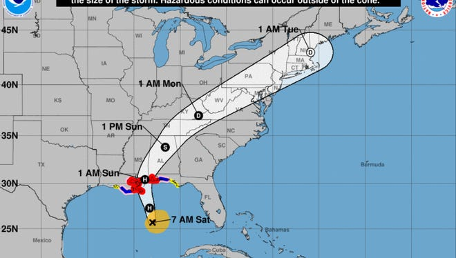 Forecast for Hurricane Nate as of 10 a.m. on Saturday, Oct. 7, 2017.