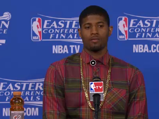 Pacers' star Paul George during postgame press conference Monday in Miami.