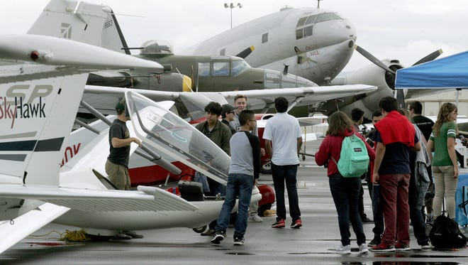 Hundreds of students attended this year's Ventura County High School Aviation Career Day at the Camarillo Airport on Friday.