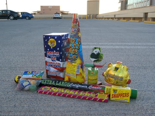 A collection of legal fireworks in Arizona. Although all of them are legal, some can only be used between certain dates.