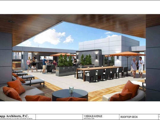 Rendering of rooftop deck on new apartment building approved for Dekalb Avenue in White Plains.