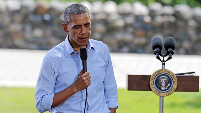 President Obama speaks at a town hall in Minneapolis last week.