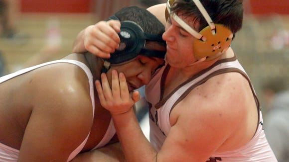 Manny Mena of North Rockland and Sal Iodice of Clarkstown South battled in a 285 pound match at the Rockland County Wrestling Championships at Tappan Zee High School Jan. 27, 2018.