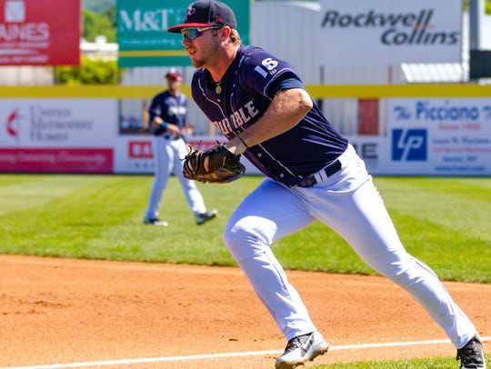 Binghamton first baseman Peter Alonso fields a grounder during the Rumble Ponies' 9-2 loss to the Altoona Curve on Thursday at NYSEG Stadium.