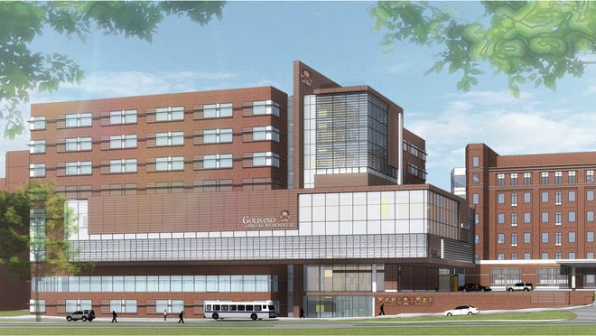 A rendering of the new Golisano Children's Hospital, which is scheduled to open in July.