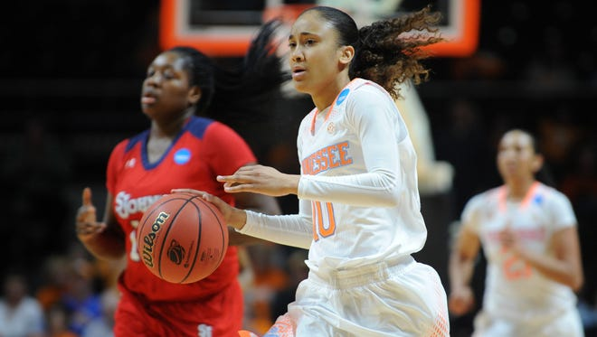 Tennessee Lady Volunteers guard Meighan Simmons (10) during the second half of a women's college basketball game against the St. John's Red Storm in the second round of the NCAA Tournament at Thompson-Boling Arena. Tennessee won 67 to 51.