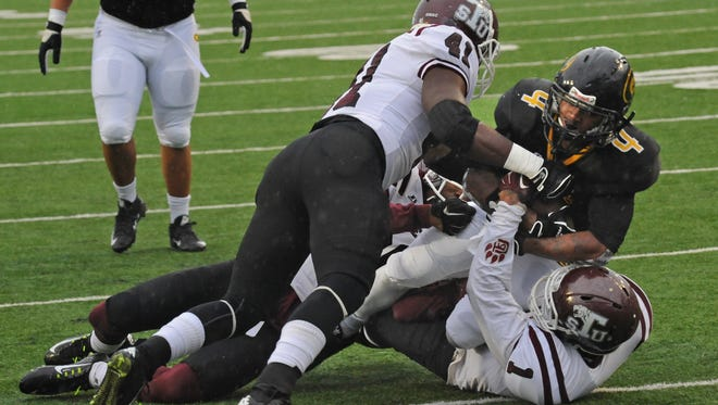 Grambling's Martez Carter scores a first half touchdown in the Red River State Fair Classic Saturday.