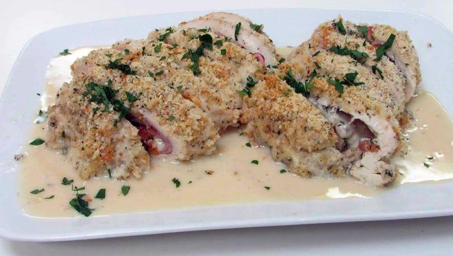 Chicken Cordon Bleu with White Wine Butter Sauce