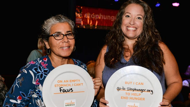 Monica Naranjo and Rebecca Rodriguez at Treasure Coast Food Bank's Out Laugh Hunger to kicked off Hunger Action Month.