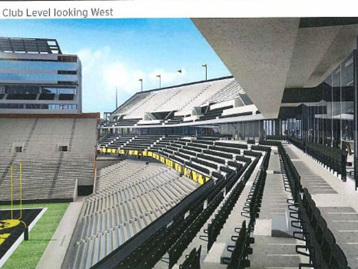 Artist's rendering of the Kinnick Stadium north end