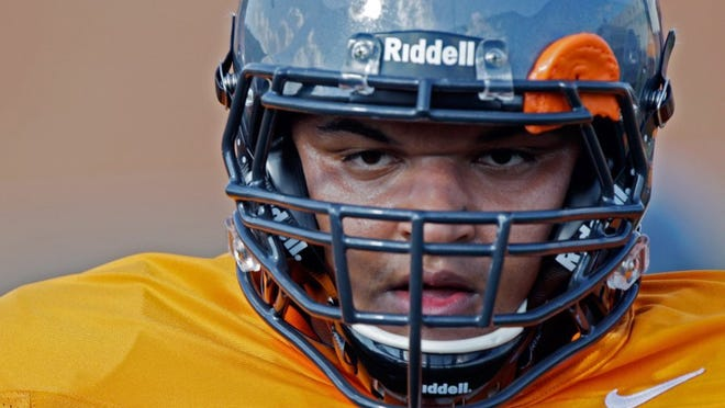 Tennessee offensive lineman Chance Hall (76) is seen during practice as he prepares for Saturday's Florida game Tuesday, Sept. 20, 2016.