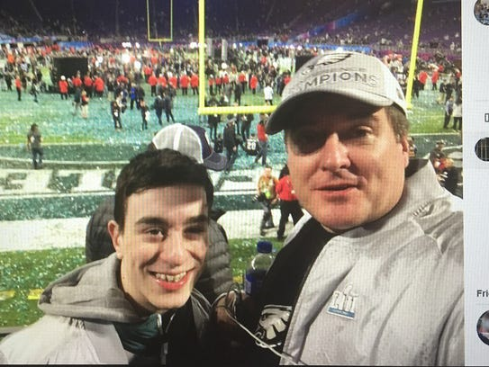 Cole Fitzgerald and his father, Bill, of Washington