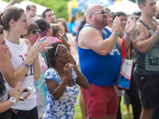 The audience watches performers at SWFL Pride 2015