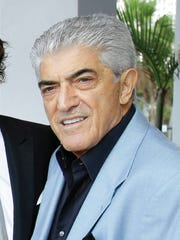 """FILE - In this Jan. 11, 2013 file photo, actor  Frank Vincent appears in Miami Beach, Fla.  Vincent, a veteran character actor who often played tough guys including mob boss Phil Leotardo on """"The Sopranos,"""" died, Wednesday, Sept. 13, 2018. He was 80. (AP Photo/Wilfredo Lee, File)"""