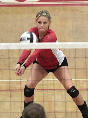 Taylor Hamblin of Fairfield makes a dig off a Loveland serve. After taking the first game, Fairfield lost 3 straight to the Loveland Tigers for a loss at home.