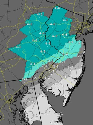 Snowfall increases in central New Jersey.